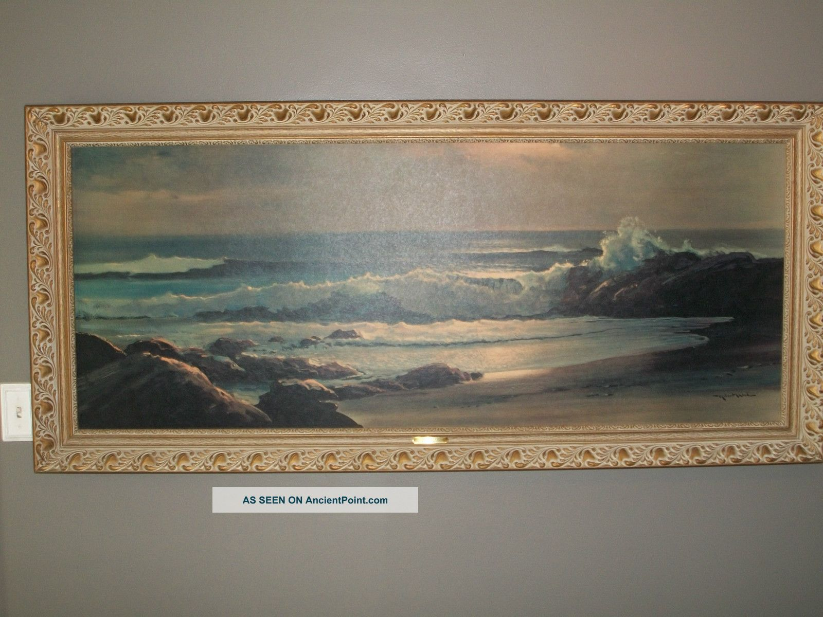 10430 Gorgeous antique lithograph entitled  golden surf  signed by robert wood and on art deco furniture reproductions