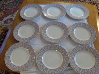 Rare Wood & Sons ' Seabridge ' Set Of 9 Dinner Plates Made In England In 1936 photo