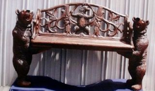 Black Forrest Carved Bears Musical Bench F Trauffer photo