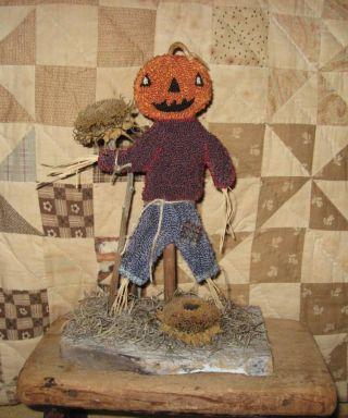 ~primitive Needle Punch Pumpkin Head Scarecrow ~ photo