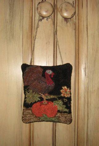 ~primitive Needle Punch Turkey Door Hanger~ photo