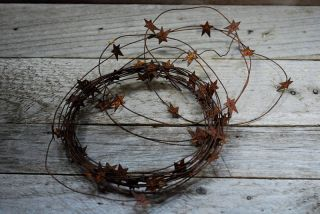 24 Ft Primitive Rusty Star Garland - - - 3/4