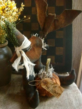 Primitive Halloween Witches Boots Bat Pumpkin And Hat Gathering Shelf Sitter photo