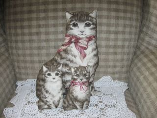 Set Of Three Reproduction Fabric Cats W/ White Doilie photo