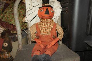 Primitive Halloween/pumpkin Man Doll photo