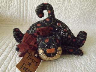Primitive Halloween Hucus Pocus Cat Kitty Ornie Doll Made By Patti ' S Ratties photo