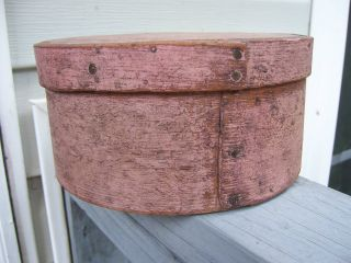 Aafa - 19th C Thick Walled Pantry Box Salmon Paint 7