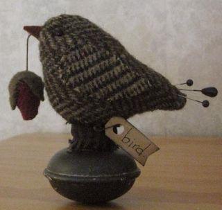 Primitive Tweed Wool Door Knob Bird Make Do Pin Cushion Doll Pfatt photo