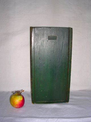 Aafa - 19th C. ,  Slide - Top Candle Box In Early Green Paint. photo