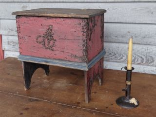 1800s Primitive Miniature Blanket Chest Red And Blue Paint Folk Art Nr photo