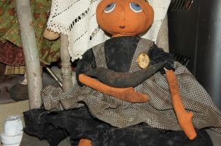 Primitive Halloween/pumpkin Head Doll With Crow photo