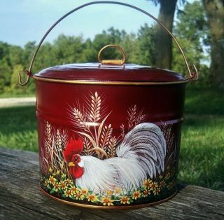 Vtg Tin Berry Pail Lunch Bucket Hp Red Rooster Daisies Wheat Hand Painted photo