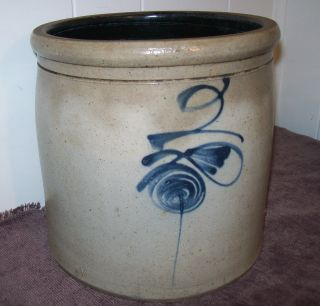 Antique Primitive Salt Glaze 2 Gallon Cobalt Blue Bee Sting Crock Exc Cond photo