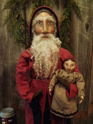 Primitive Folk Art Izannah Walker With Old World Santa Doll~ Tdipt photo