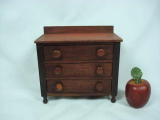 Wonderful 19th Century New England Miniature Chest Of Drawers photo
