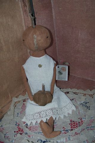 Primitive Fall Early Pumpkin Door Greeter Doll W~1909 Petticoat~vint~button Ooak photo