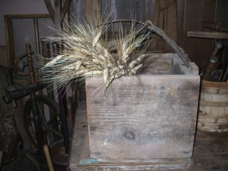 Olde Primitive Wood Buttr ' Y Box - Dry Attic Patina W/olde Horse Leather Handle photo