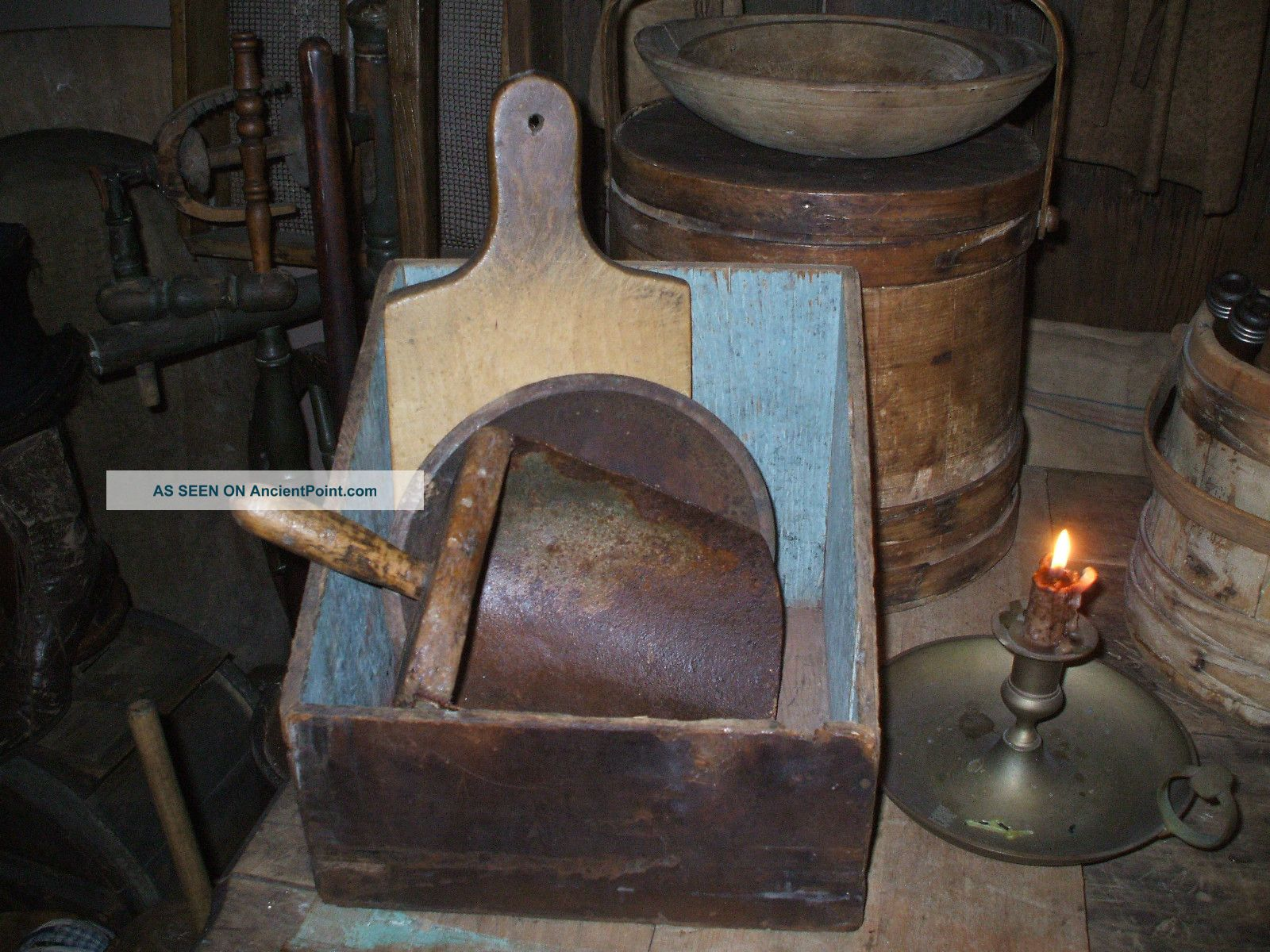 Olde Primitive Slanted Wood Buttr ' Y Bin - Dark Dry Attic Patina + Cutting Board Primitives photo