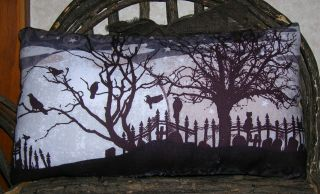 Primitive Halloween Cemetery Night Time Scene Fabric Panel Crows Trees Moon photo