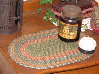 Primitive Folk Art Oval Braided Candle Mat Trivet C - 42 photo