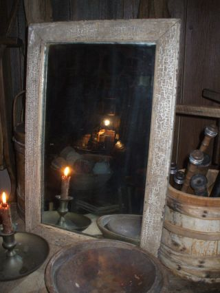 Olde Early Primitive Mirror/natural Crackling Patina photo