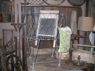 Olde Primitive/vintage Metal Allied Laundry Cart W/washboard And Laundry Pin Bag photo