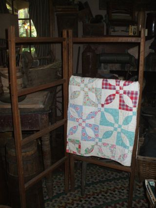 Olde Primitive Amish Handmade Quilt Rack W/ Amish Handmade Quilt Throw photo