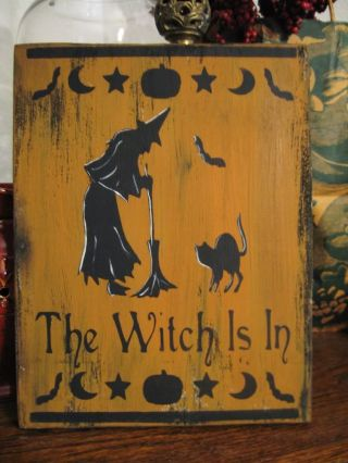 Primitive Halloween Sign The Witch Is In Black Cat Bat photo