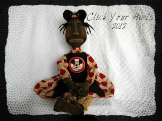 Primitive Black Doll Millie Mouseketeer Ooak (click Your Heels) photo