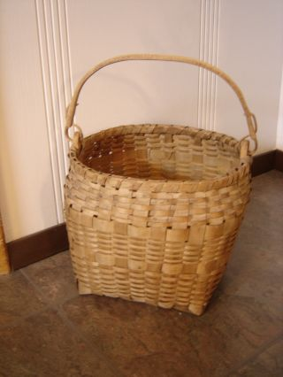 Antique Handwoven Basket ~swing Handle~ Old Estate Find photo