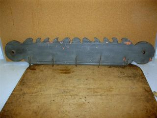 Late 18th C Wooden Game Utensil Rack Qa Scrolled Crest Old Federal Blue Paint photo