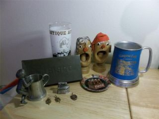 Vintage Lot Pewter Glass Bottom Mugs,  Boy,  Iron,  Nabisco Tin,  Nut Crackers,  Antiq photo