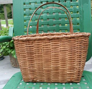 Primitive Early Tall Splint Basket With Handles Signed photo