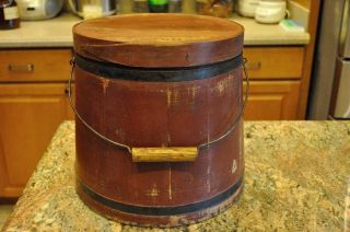 Firkin,  Ca:1880s. . .  Red Paint. . .  Pa.  Origin, , ,  Bail Handle photo