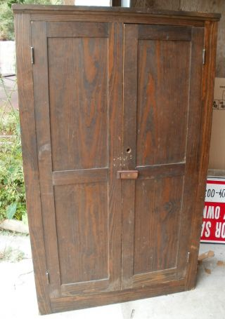 Antique Primitive Kitcen Cupboard Cabinet Safe Storage Pine Wood Floor Stained photo