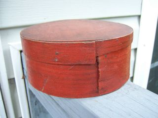 Aafa - 19th C Pantry Box Old Red Paint 6 1/4