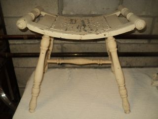 Primitive Wooden Bowed Seat Country Stool photo