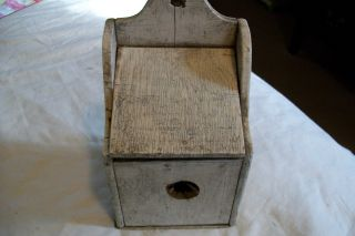 Antique Primitive Wood Salt Box,  Made Into Bird Box.  Old White Paint Unique photo