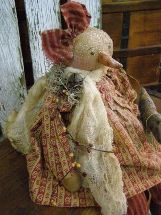 Primitive Fall Snowman Doll W/ Crow Folk Art Snowman Old Crow Fall Snowman Doll photo