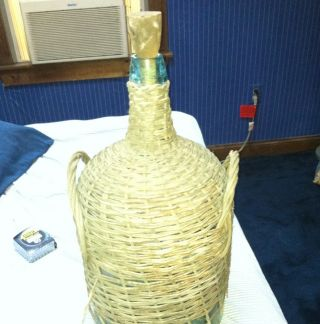 Rare Antique Wicker Covered Wine Making Bottle Jug Vintage Blown Glass 2 ' Tall photo