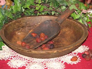 Primitive Early Treenware Dough Bowl Vintage Repro photo