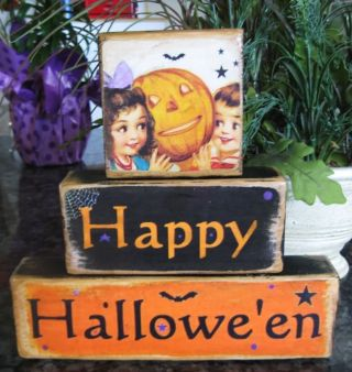 Primitive Halloween Shelf Sitter Blocks Stackables photo