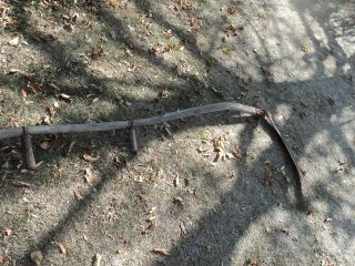 Vintage Sickle Scythe Primitive Farm Tool Grim Reaper Halloween Rustic Decor photo