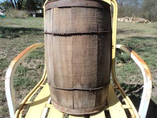 Antique Wooden Nail Keg Wood Barrel Rustic Decor Primitive Farm Tool17