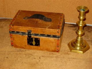 A Rare 18th C Leather Covered Document Box Blue Wallpaper Interior photo