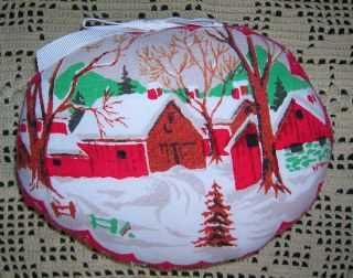 Primitive Repurposed Vintage Tablecloth Christmas Ornie Tuck Recycled Linens photo