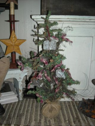 Prim Looking Year Round German Tree ~ Metal Ornies ~ Homespun Ties photo