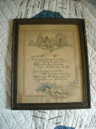 Antique Framed Old Print ~ Under Glass ~ Mother photo