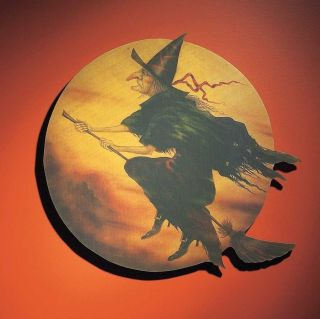 Primitive Vintage Style Witch Flying Over The Moon Sign photo