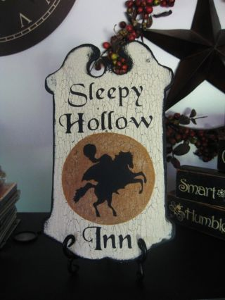 Primitive Halloween Sign Sleepy Hollow Inn Headless Horseman Gold Moon photo